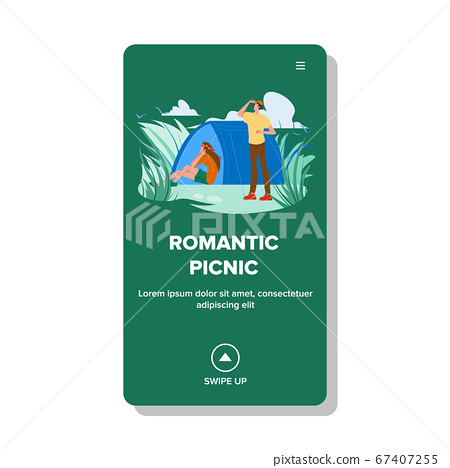 Romantic Picnic On Nature With Camping Tent Vector 67407255
