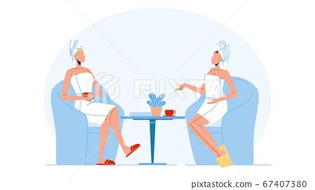 Women Wearing Bathrobe And Towel On Head Vector 67407380