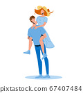 Man Holding Girl Piggyback Playing Game Vector 67407484