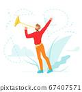 Trumpeter Play Musical Instrument Trumpet Vector Illustration 67407571