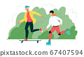 Young Boy And Girl Have Activity Sport Time Vector 67407594