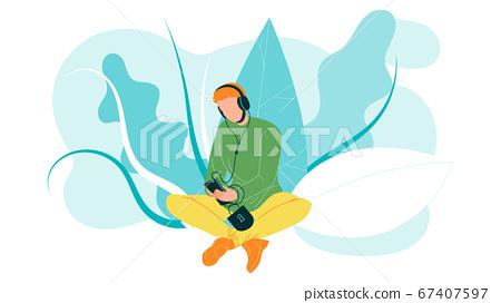 Man Using Mobile Cellular For Listen Music Vector 67407597