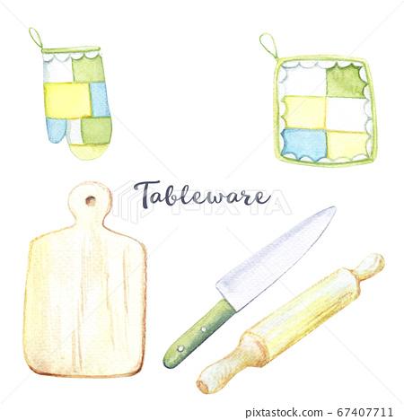 watercolor set of drawings - kitchen utensils, cookware 67407711