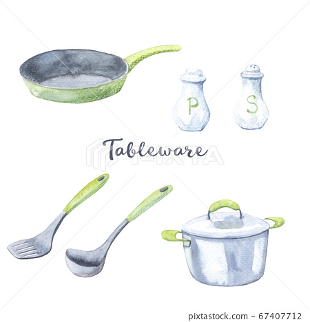 watercolor set of drawings - kitchen utensils, pan, skillet, soup ladle, spatula, salt and pepper 67407712