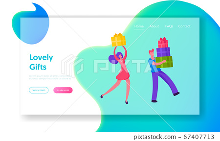 Winter Holidays or Birthday Celebration Website Landing Page. Happy People Carry Gift Boxes with Festive Bow Prepare Presents for Family and Friends Web Page Banner. Cartoon Flat Vector Illustration 67407713