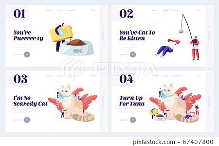 Care of Animals Website Landing Page Set, Tiny Male and Female Characters Caring of Huge Cat, Feed, Play, Dressing Ribbon 67407800