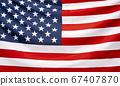 Beautifully waving star and striped American flag, web banner 67407870