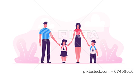 Mother and Father Leading their Children to School. Portrait of Modern Family Walking Together. Parents and Kids in Students Uniform Holding Hands. Back to School. Cartoon Flat Vector Illustration 67408016