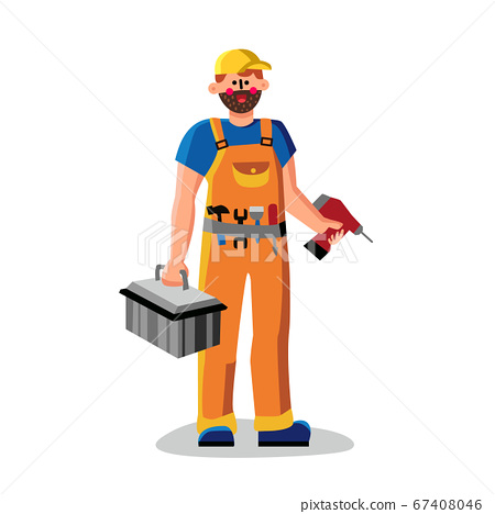Repair Man Holding Drill And Instrument Box Vector 67408046