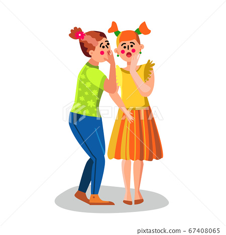 Girl Whispering Secret Talking News To Ear Vector 67408065
