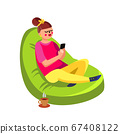 Girl Sitting In Beanbag And Using Cell Phone Vector 67408122