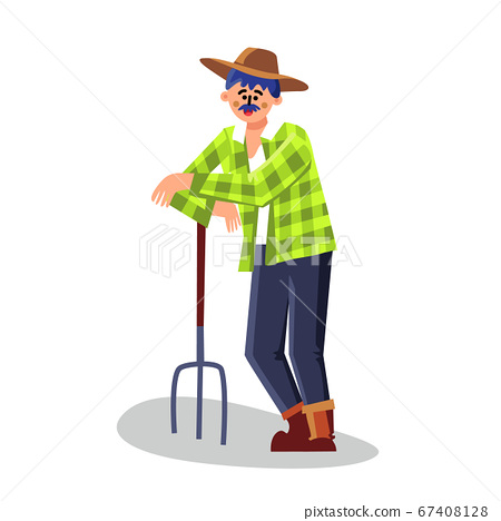 Farmer Standing With Pitchfork Equipment Vector Illustration 67408128