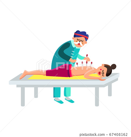 Performing Acupuncture Therapy Woman Character Vector Illustration 67408162