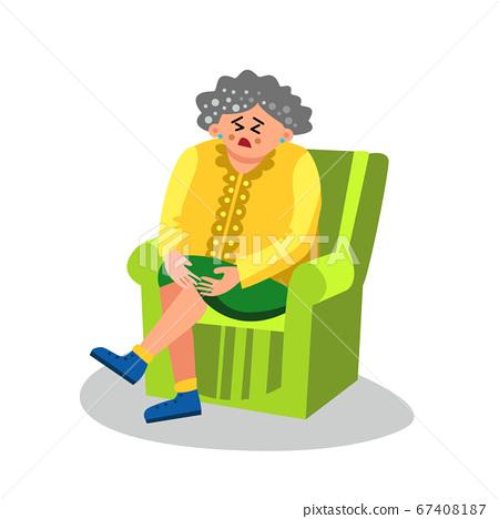 Elderly Woman With Arthritis Sit In Chair Vector 67408187