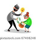 Criminal Man Scam Older Woman Character Vector 67408248