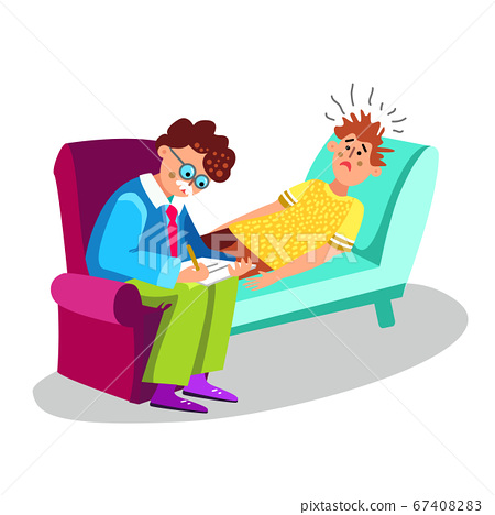 Psychologist And Patient Psychiatry Therapy Vector Illustration 67408283