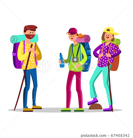 Hikers Characters With Touristic Equipment Vector Illustration 67408342