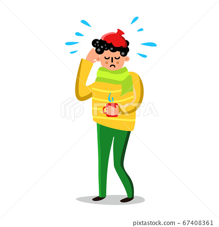 Sick Man With High Temperature And Headache Vector 67408361