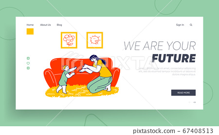 Baby Making First Step Landing Page Template. Toddler and Mother, Parent and Child Practicing Walking at Home. Family Characters Life Event, Little Kid Achievement. Linear People Vector Illustration 67408513