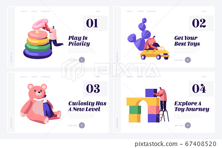 Playthings for Children Website Landing Page Set. Tiny Male and Female Characters Playing with Baby Toys on Playground 67408520