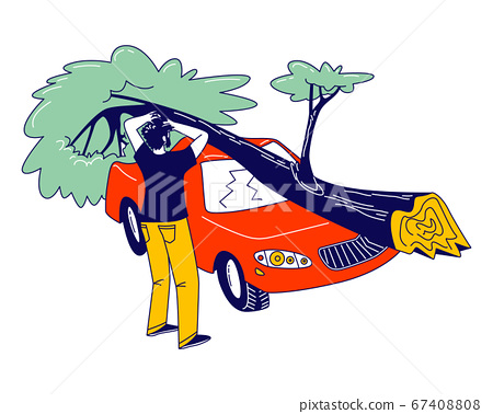 Male Character Stand at Broken Car with Fallen Tree Got into Tornado Windbreak. Nature Destruction Power 67408808