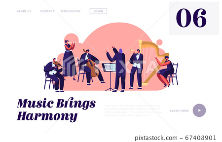 Symphony Orchestra Playing Classical Music Concert Website Landing Page, Conductor and Musicians with Instruments Performing 67408901