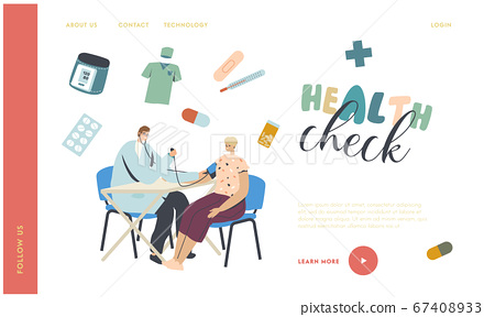 Medical Check Up, Checking Arterial Pressure Landing Page Template. Doctor Character Use Tonometer for Measuring Female Patient Blood Pressure Health Care Monitoring. Linear People Vector Illustration 67408933
