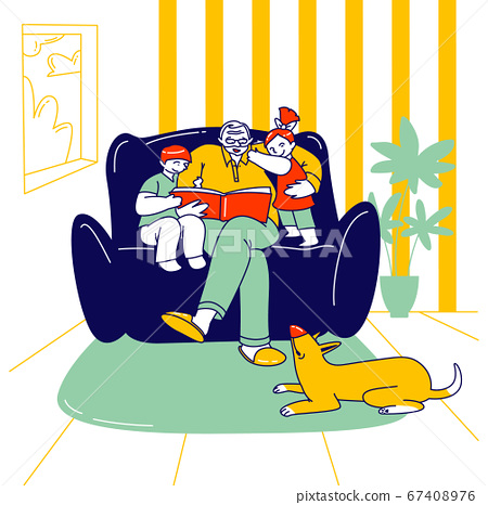 Happy Family Characters Grandparent with Kids Spend Time at Home. Grandfather Reading Book to Children Sitting on Sofa 67408976
