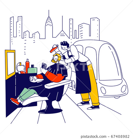 Stylish Hipster Barber Character Making Style for Customer Trimming Hair and Beard in front of Mirror in Street Barbershop, Outdoor Men Hairdressing Salon, Grooming. Linear People Vector Illustration 67408982