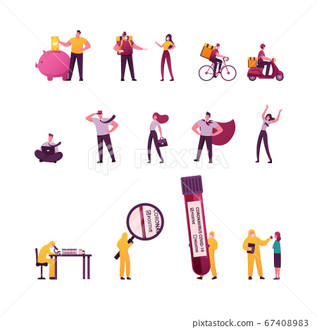 Set of Tiny Male and Female Characters Collect Money in Piggy Bank, Huge Coronavirus Blood Test, Bike and Moped Delivery Service. Business People in Super Hero Cape. Cartoon Vector Illustration 67408983