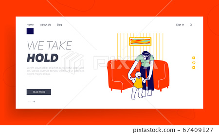 Baby Making First Step Landing Page Template. Mother Holding Toddler Hands Teach to Walk. Parent and Child Characters Practicing Walking at Home, Happy Family Event. Linear People Vector Illustration 67409127