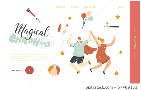 Children Party, Birthday Celebration Landing Page Template. Happy Kids Characters Dance and Jumping with Hands Up 67409133