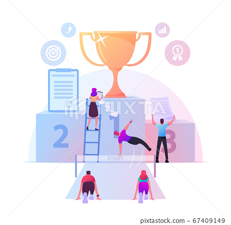 Business Competition, Obstacles Race. Office People Characters Running with Barriers to Win Gold Goblet on Huge Pedestal. Leadership, Colleagues Chase Successful Leader. Cartoon Vector Illustration 67409149