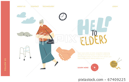 Seniors Help and Support Landing Page Template. Old Woman in Glasses Walk Outdoors. Aged Female Character Walking Frame, Knitting Hobby and Leisure Time in Nursing Home. Linear Vector Illustration 67409225