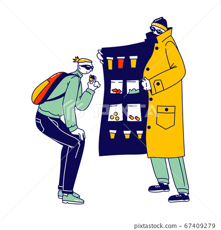 Retailer Gangster Characters in Raincoat and Sunglasses Sell Drugs to Young Male Customer 67409279