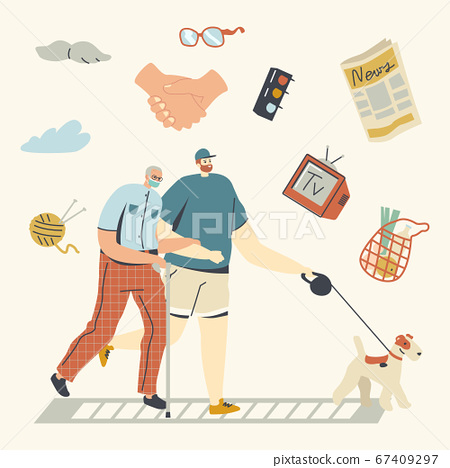 Volunteer Help Senior Man in Medical Mask Walking with Dog. Kind Selfless Male Character Doing Good Deal Helping and Support Aged Pensioner at Coronavirus Pandemic. Linear People Vector Illustration 67409297