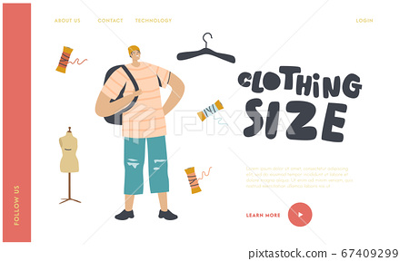 Teenager Wearing Oversize Clothes Landing Page Template. Youth Fashion, Urban Lifestyle. Young Male Character Wearing Fashioned Hat, T-shirt and Ragged Shorts with Rucksack. Linear Vector Illustration 67409299