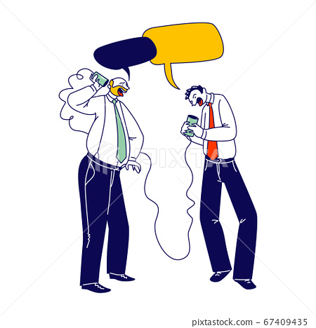Business Men Characters Speaking by Vintage Deaf Phone or Can Telephone made of Tin Jars Connected with Rope 67409435