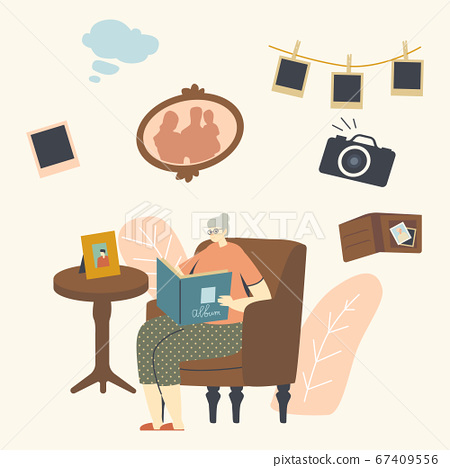 Senior Woman Character Sitting on Couch Watching Family Album with Pictures in Room, Aged Granny Remembering Past 67409556