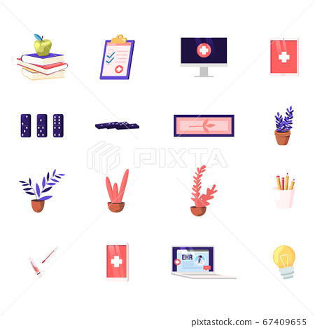 Set of Icons Textbooks with Apple, Medical Insurance and Pc Monitor, Tablet with Medicine Cross, Dominoes and Potted Plant with Pencils. Syringe, Thermometer or Light Bulb. Cartoon Vector Illustration 67409655