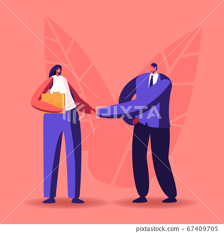Company Hiring Manager Welcoming New Employee. Business Man Character Greeting Applicant with Work Appointment 67409705