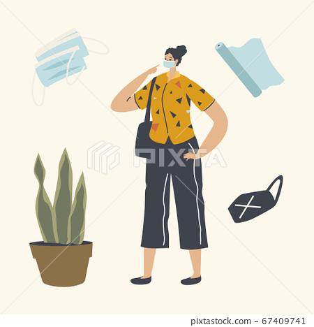 Young Girl in Medical Mask, Casual Clothing and Handbag Walking Outdoors during Coronavirus Quarantine 67409741