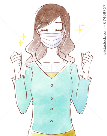 Happy young woman wearing a mask 67409757