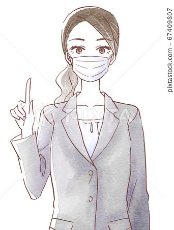 穿著口罩和手指姿勢的西裝的女人 67409807