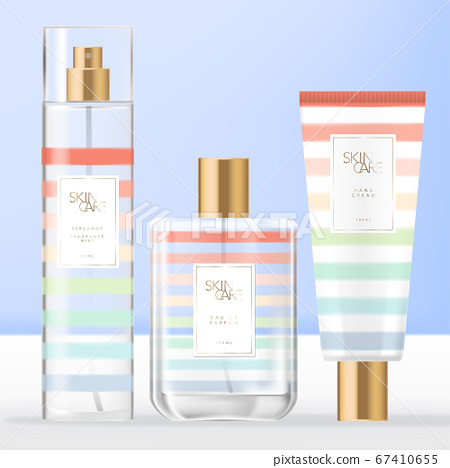 Vector Summer Theme Toiletries, Beauty or Fragrance Set with Perfume Bottle, Body or Facial Mist Spray Bottle & Hand Cream Tube Packaging with Rainbow Stripe Pattern Design. 67410655