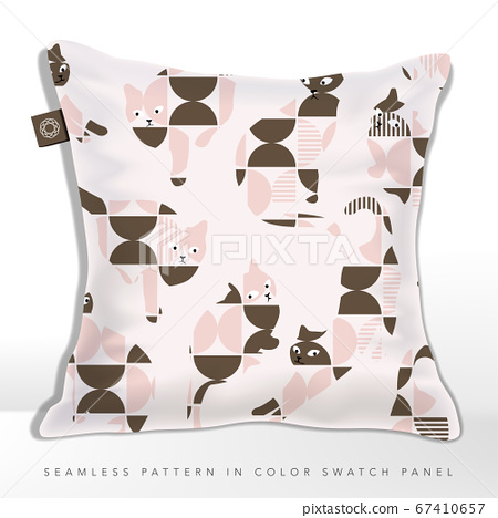 Retro Abstract Geometric Cat Silhouette Seamless Fabric Pattern on Cushion, Pink & Brown. 67410657