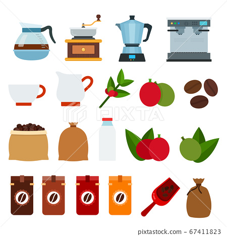 Set of Coffee drink icons flat vector 67411823