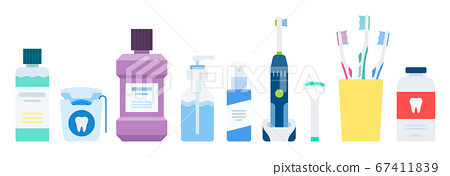 Set for the prevention, care of the oral cavity and teeth vector illustration in a flat design 67411839