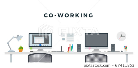 Co - Working with two computers concept set vector flat isolated 67411852