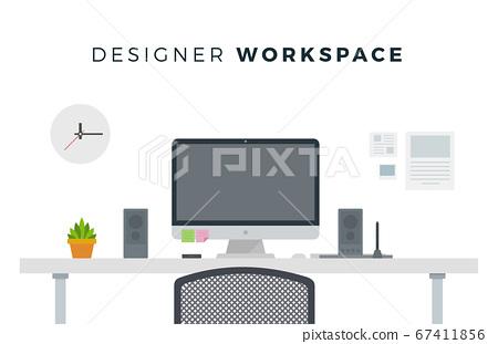 Designer Workspace Computer On A White Background Stock Illustration 67411856 Pixta